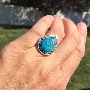 Turquoise Sterling Silver Ring Size 7 Tear Drop
